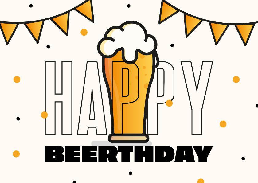 Verjaardagskaarten - Verjaardagskaart man bier Happy Beerthday slingers confetti