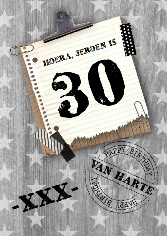 Verjaardagskaarten - Verjaardagskaart Man Stars&Wood