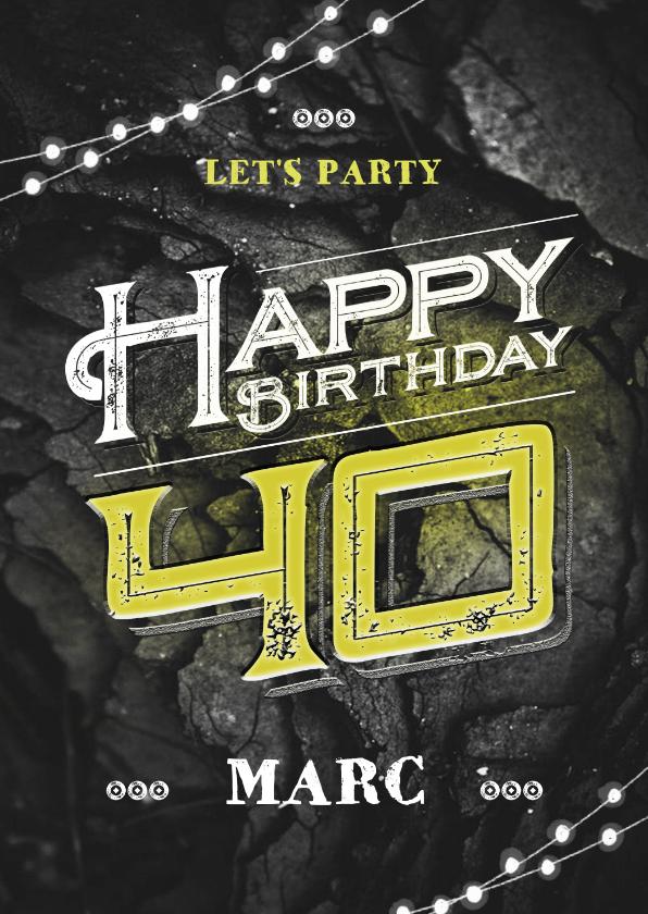 Verjaardagskaarten - Verjaardagskaart man stoer zwart geel grunge
