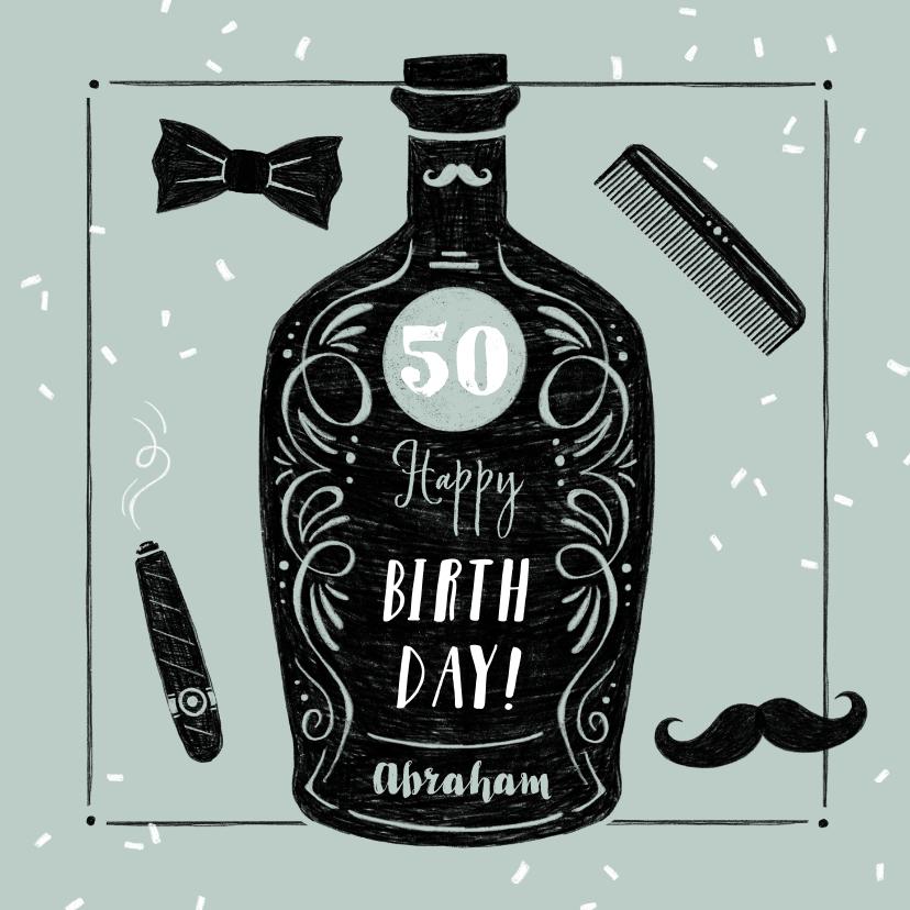 Verjaardagskaarten - Verjaardagskaart man vintage barbier whisky stoer