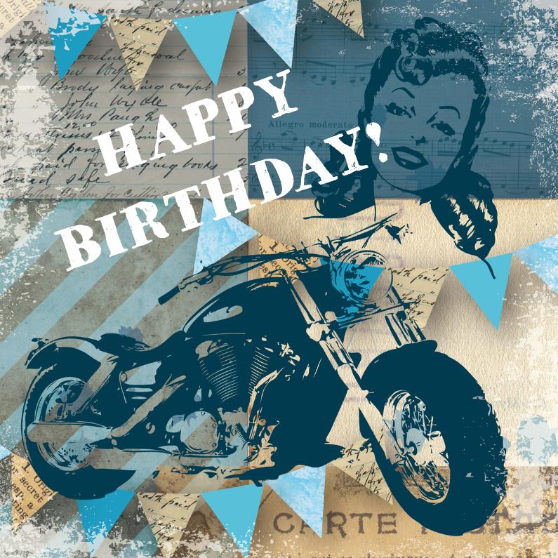 Verjaardagskaarten - Verjaardagskaart man vintage motor