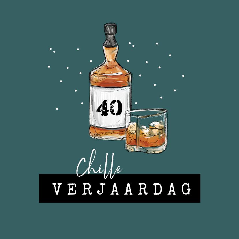 Verjaardagskaarten - Verjaardagskaart man whisky drank chille verjaardag