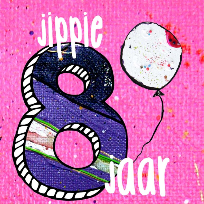 Verjaardagskaarten - verjaardagskaart meisje 8 jaar