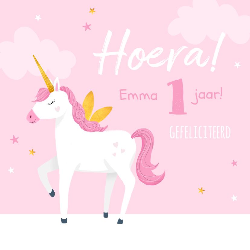 Verjaardagskaarten - Verjaardagskaart meisje baby eenhoorn sterren roze