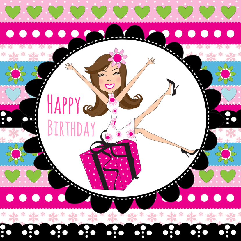 Verjaardagskaarten - Verjaardagskaart meisje cadeau