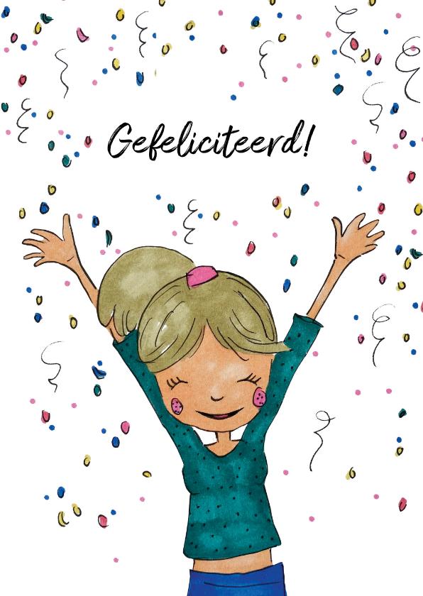 Verjaardagskaarten - Verjaardagskaart meisje confetti hoera