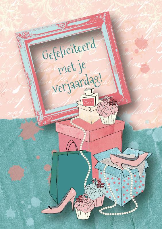 Verjaardagskaarten - Verjaardagskaart meisje fashionista cupcakes