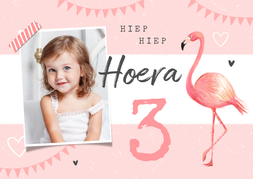 Verjaardagskaarten - Verjaardagskaart meisje flamingo slingers hartjes foto