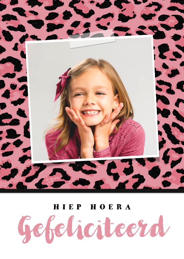 Verjaardagskaarten - Verjaardagskaart meisje hip luipaard felicitatie
