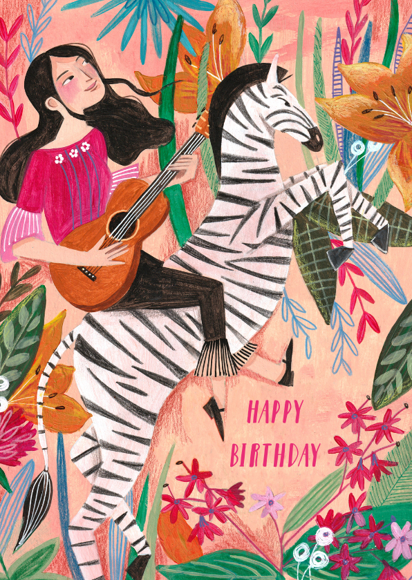 Verjaardagskaarten - Verjaardagskaart meisje met gitaar op zebra met bloemen