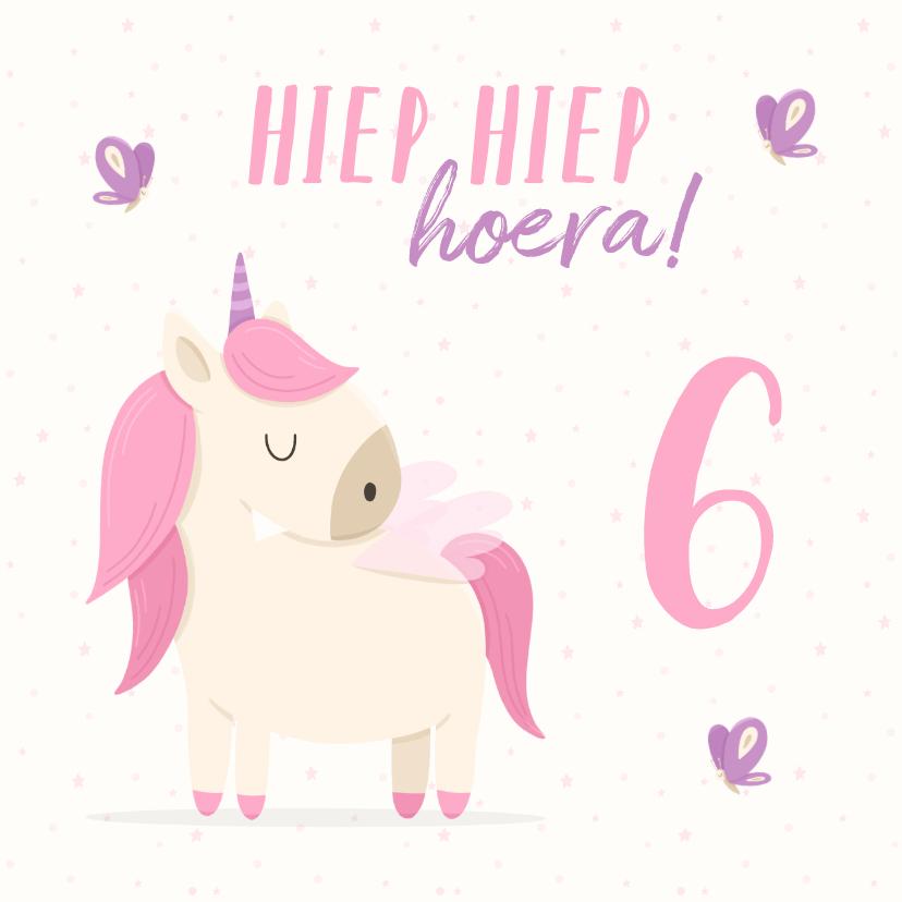 Verjaardagskaarten - Verjaardagskaart meisje met unicorn en vlinders