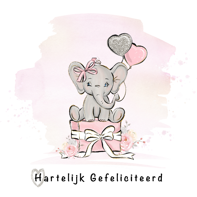 Verjaardagskaarten - Verjaardagskaart meisje olifant en ballonnen
