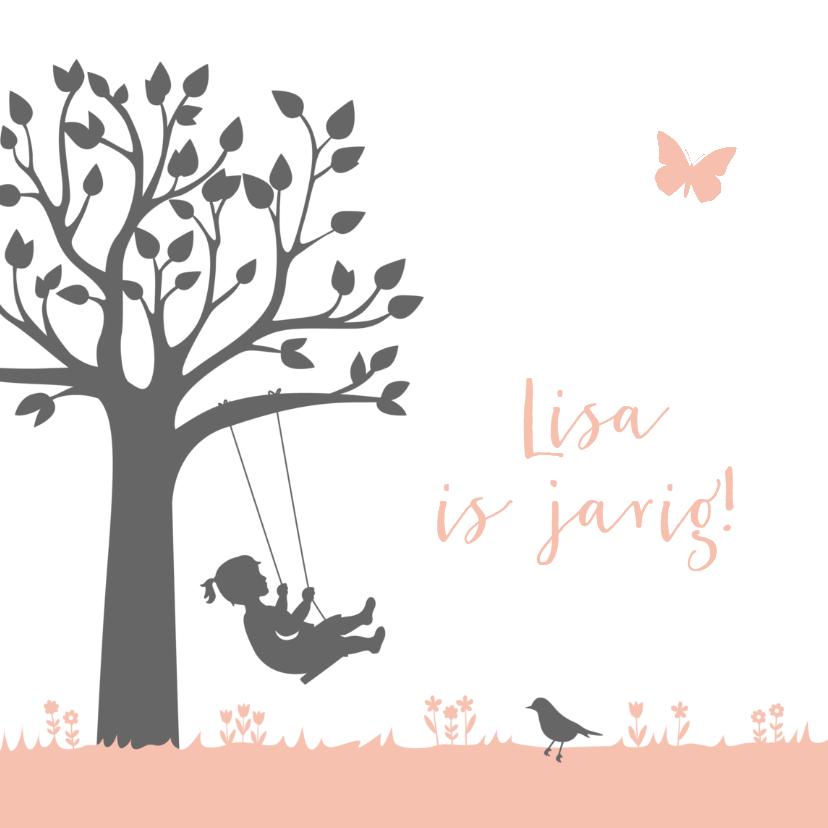 Verjaardagskaarten - Verjaardagskaart meisje op schommel bij boom
