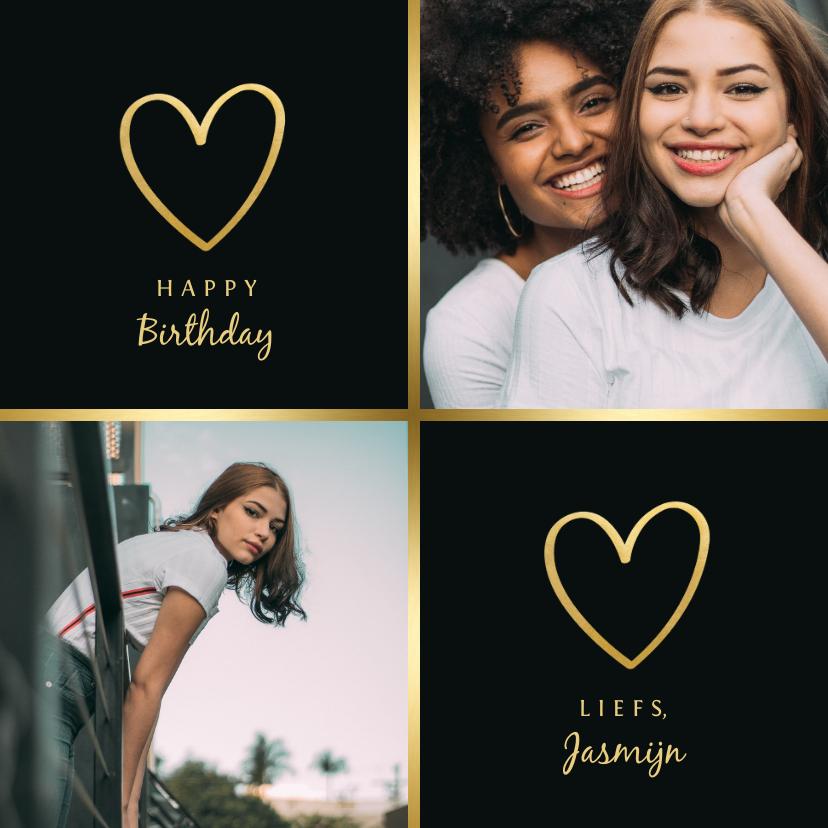 Verjaardagskaarten - Verjaardagskaart met 2 foto's en gouden randje