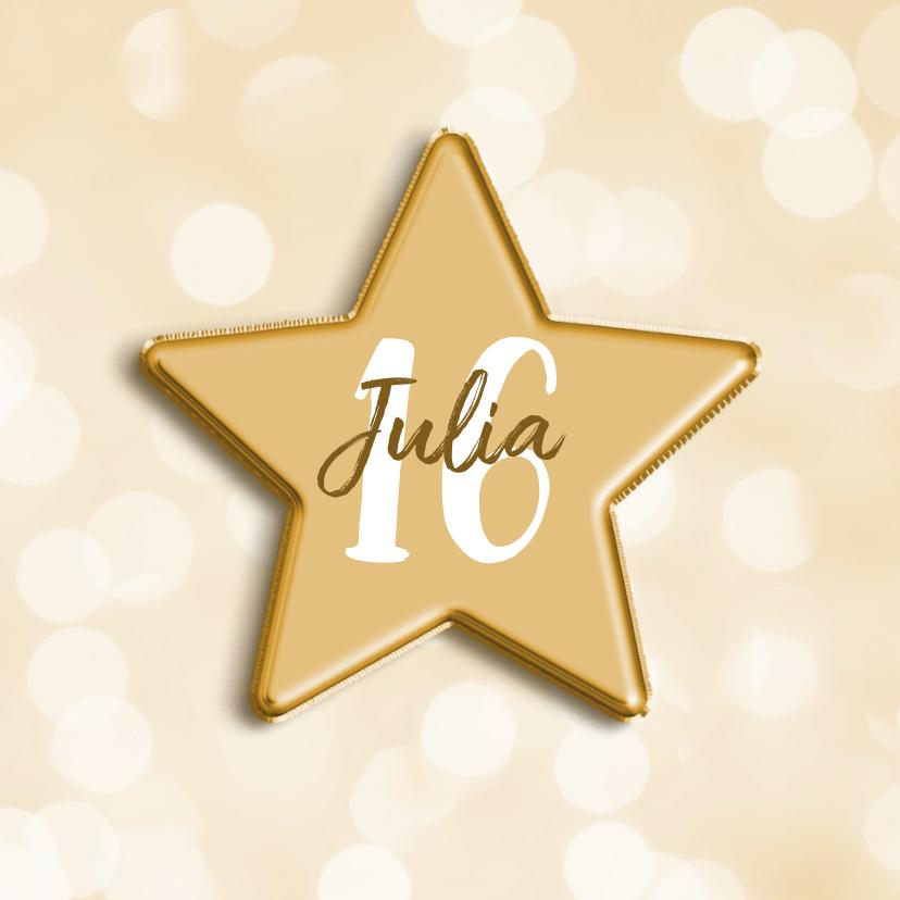Verjaardagskaarten - Verjaardagskaart met aanpasbare leeftijd in folieballon ster
