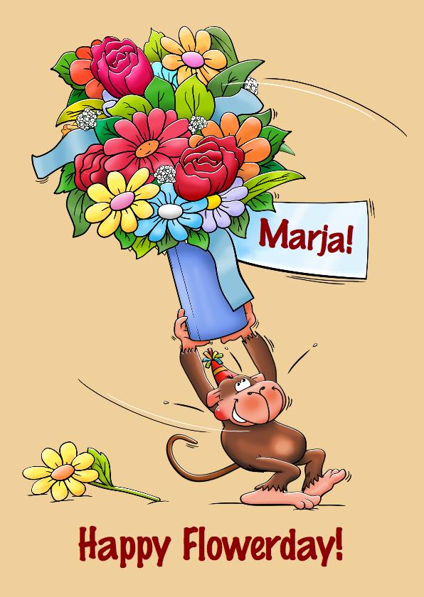 Verjaardagskaarten - Verjaardagskaart met aap en vaas met bloemen