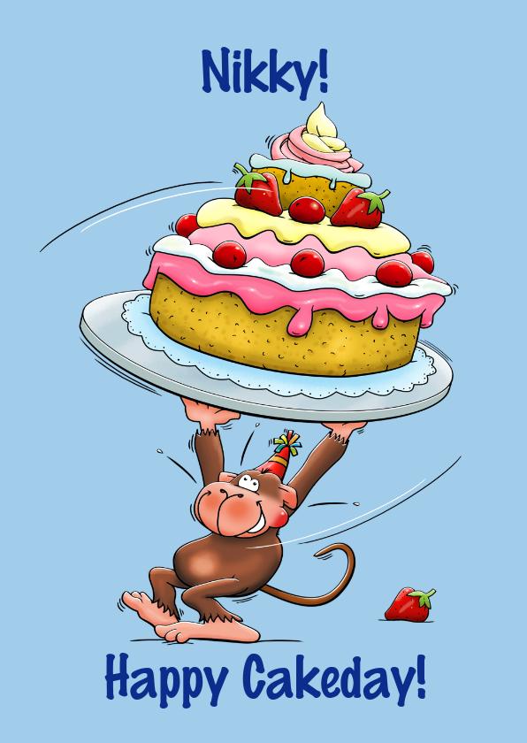 Verjaardagskaarten - Verjaardagskaart met aapje en hele grote taart