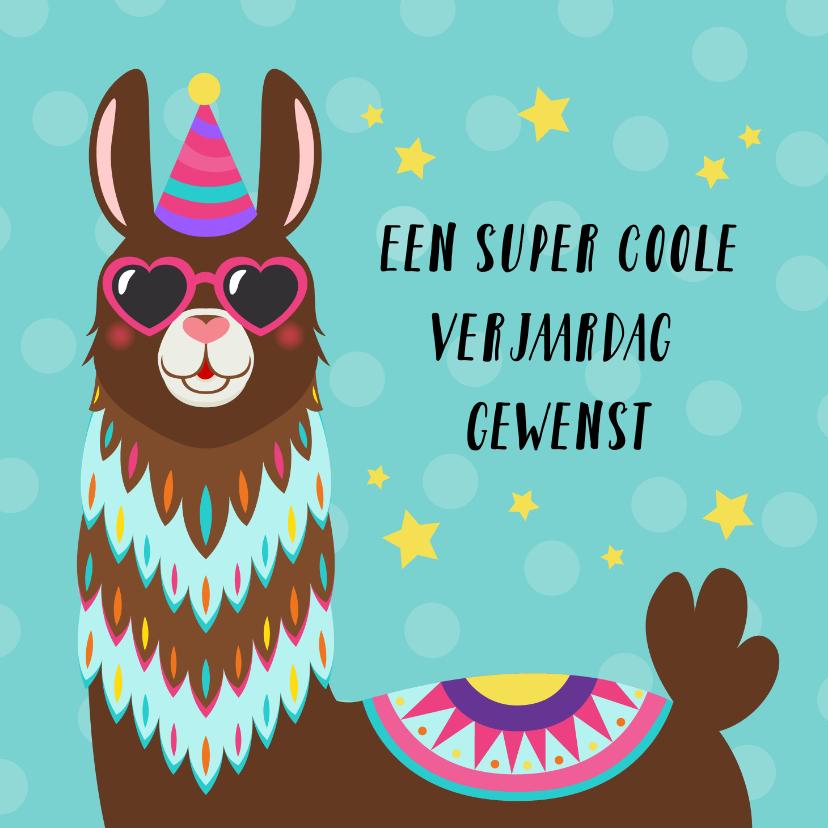 Verjaardagskaarten - Verjaardagskaart met alpaca met bril