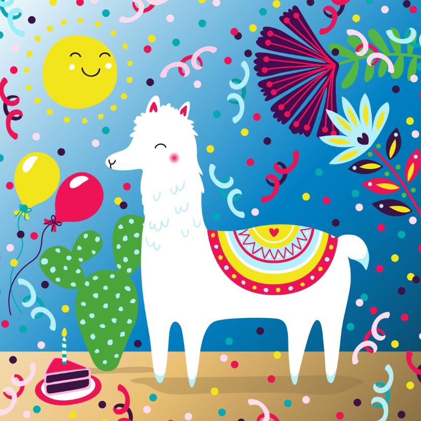 Verjaardagskaarten - Verjaardagskaart met alpaca, taart en slingers