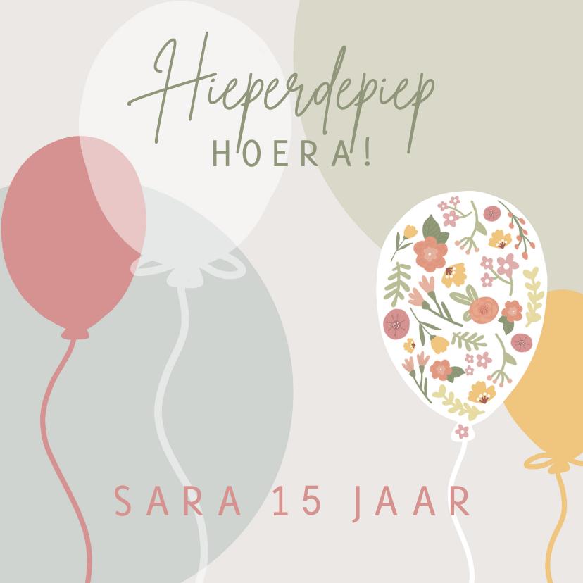 Verjaardagskaarten - Verjaardagskaart met ballonnen en bloemen