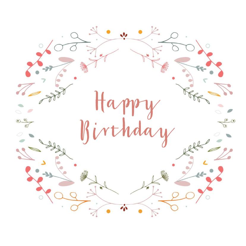 Verjaardagskaarten - Verjaardagskaart met bloemen en blaadjes
