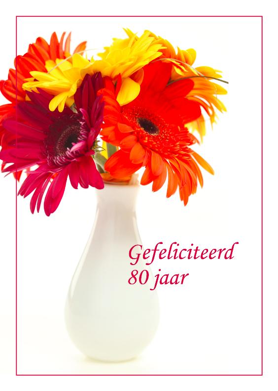 Verjaardagskaarten - Verjaardagskaart met chrysanten 80 jaar