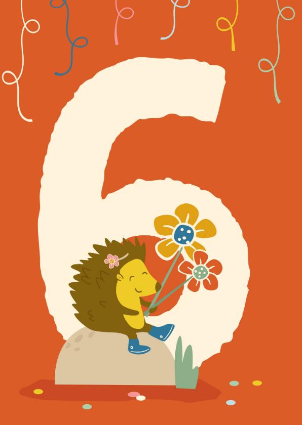 Verjaardagskaarten - Verjaardagskaart met cijfer 6 - IR