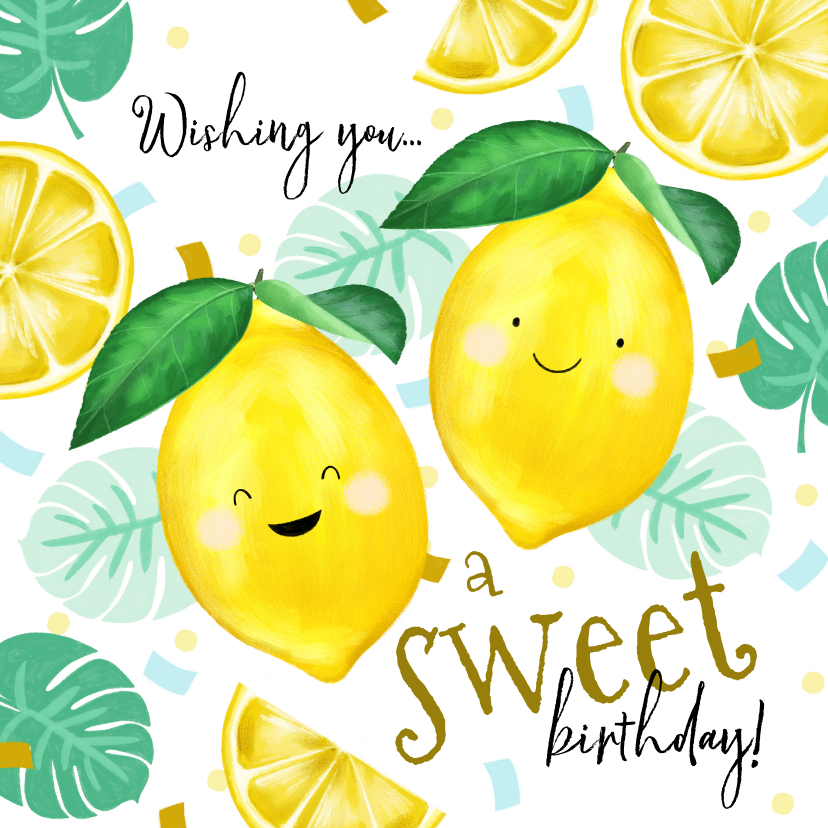 Verjaardagskaarten - Verjaardagskaart met citroentjes en tropische bladeren