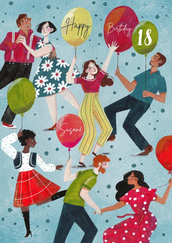 Verjaardagskaarten - Verjaardagskaart met dansende mensen en ballonnen