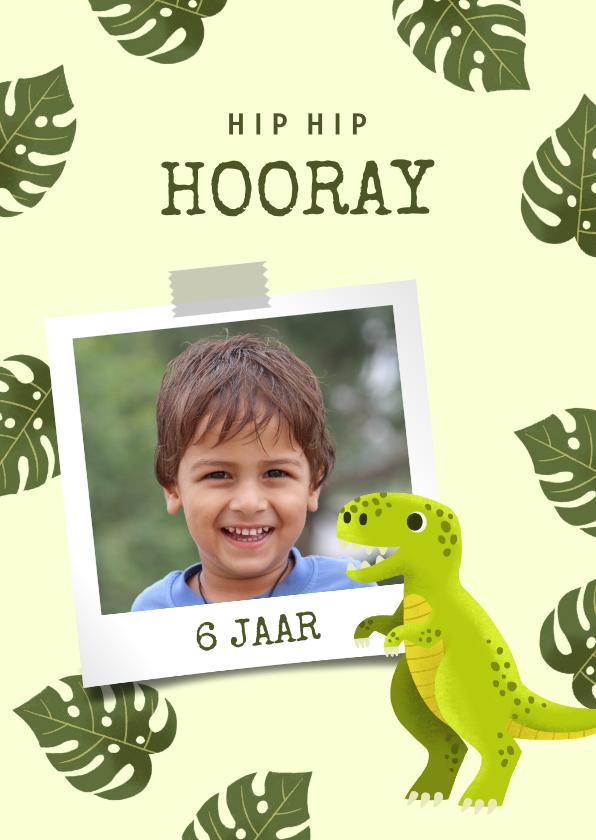 Verjaardagskaarten - Verjaardagskaart met dinosaurus, bladeren en foto