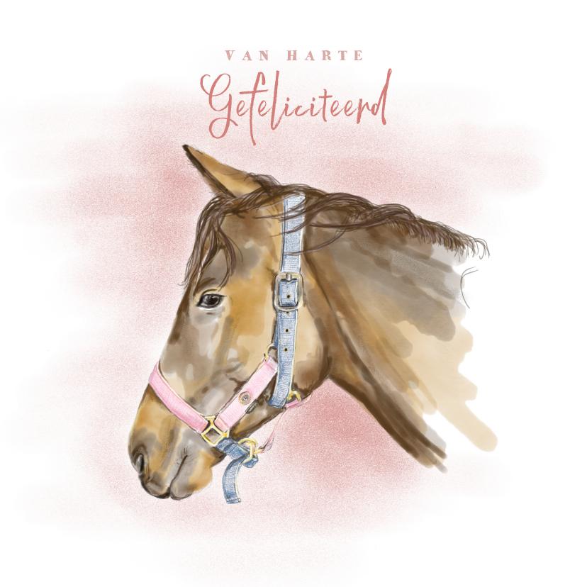 Verjaardagskaarten - Verjaardagskaart met een tekening van een paard