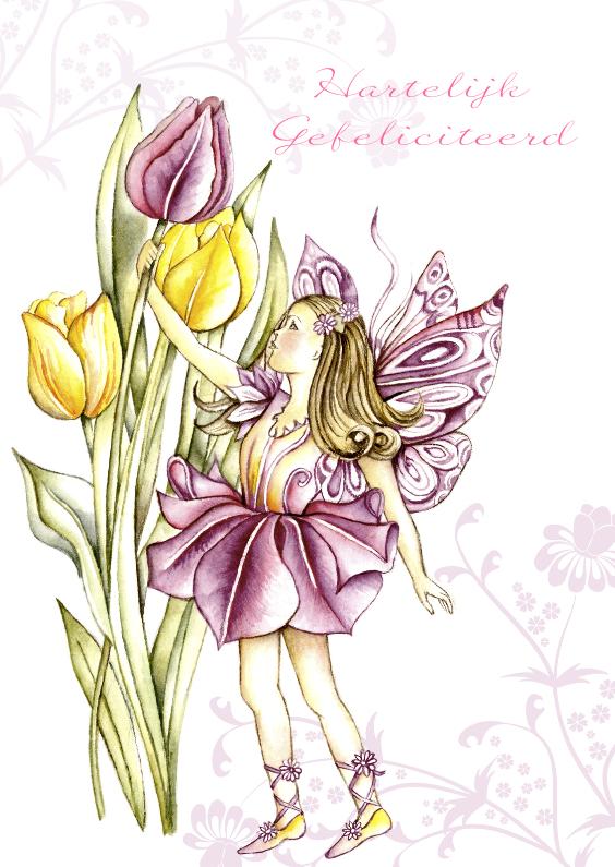 Verjaardagskaarten - Verjaardagskaart met elfje tulpen