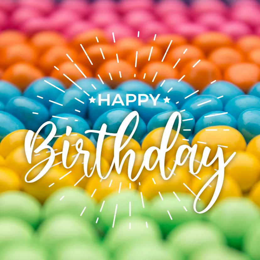 Verjaardagskaarten - Verjaardagskaart met feestelijke kleurrijke snoepjes