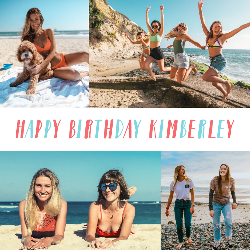 Verjaardagskaarten - Verjaardagskaart met fotocollage van 4 foto's