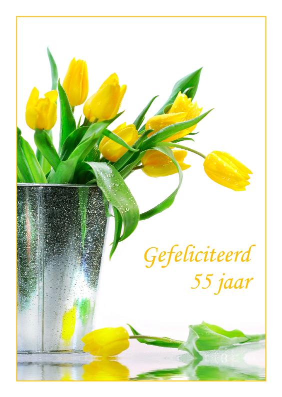Verjaardagskaarten - Verjaardagskaart met gele tulpen 55 jaar