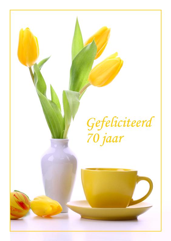 Verjaardagskaarten - Verjaardagskaart met gele tulpen 70 jaar