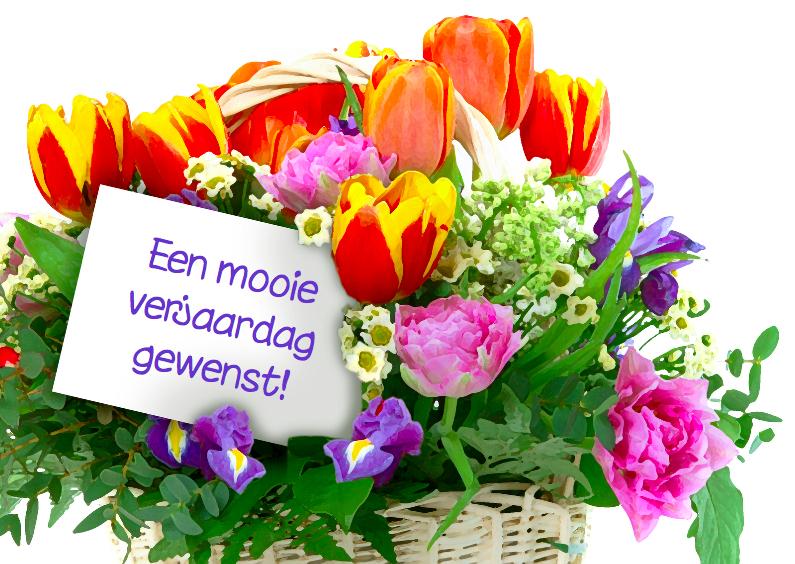 Verjaardagskaart met gemengde bloemen 1