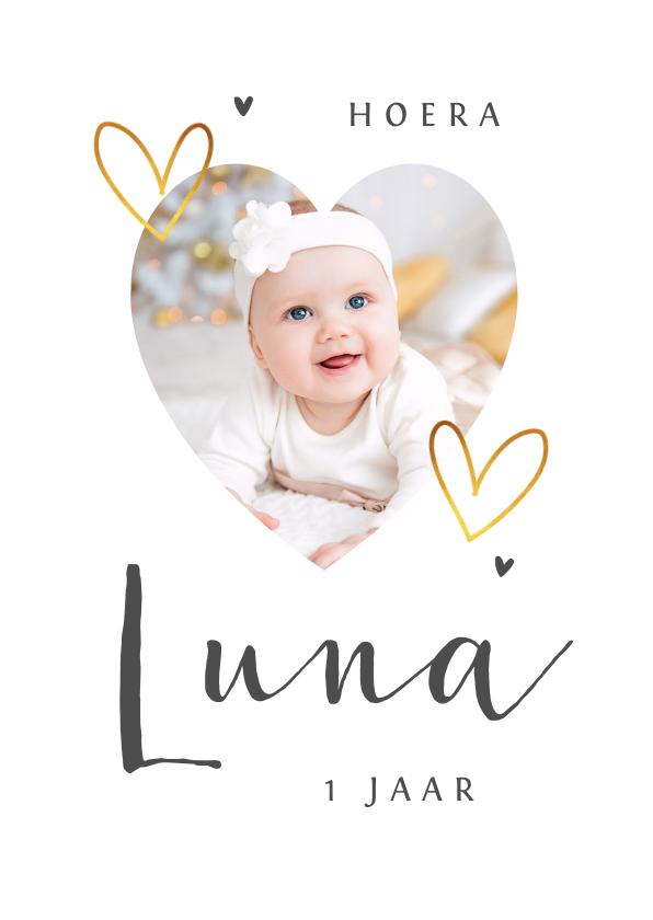 Verjaardagskaarten - Verjaardagskaart met goud hartjes eenvoudig en stijlvol