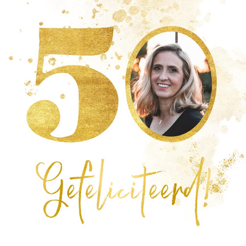 Verjaardagskaarten - Verjaardagskaart met gouden 50 en foto
