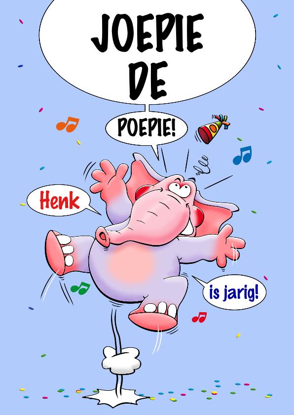 Verjaardagskaarten - Verjaardagskaart met grappige olifant, rondje van de jarige!