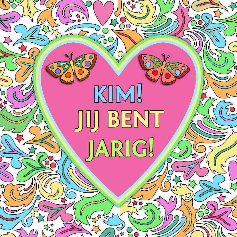 Verjaardagskaarten - Verjaardagskaart met hart en vlinders op kleurige ondergrond