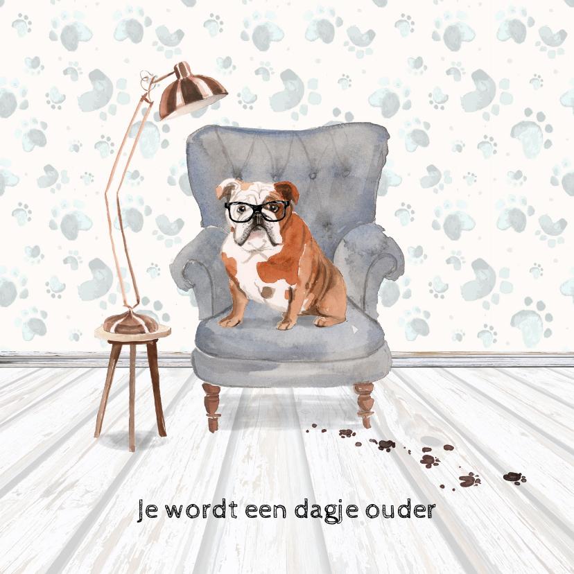 Verjaardagskaarten - Verjaardagskaart met hond in leunstoel