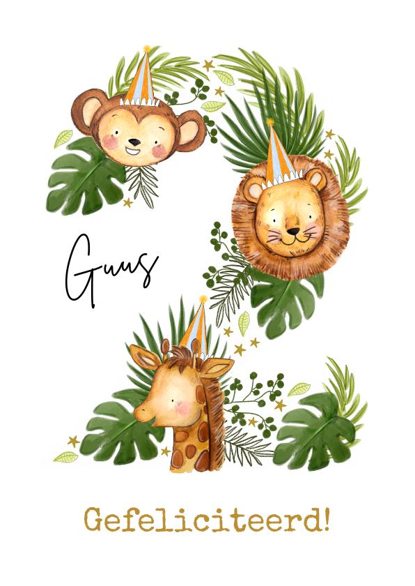 Verjaardagskaarten - Verjaardagskaart met jungledieren en botanische bladeren