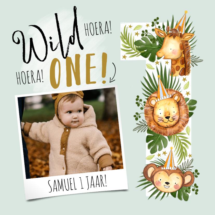 Verjaardagskaarten - Verjaardagskaart met jungledieren en grote '1'