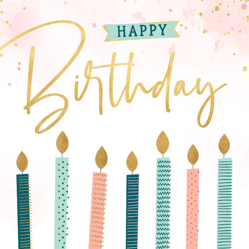 Verjaardagskaarten - Verjaardagskaart met kaarsen met patroon