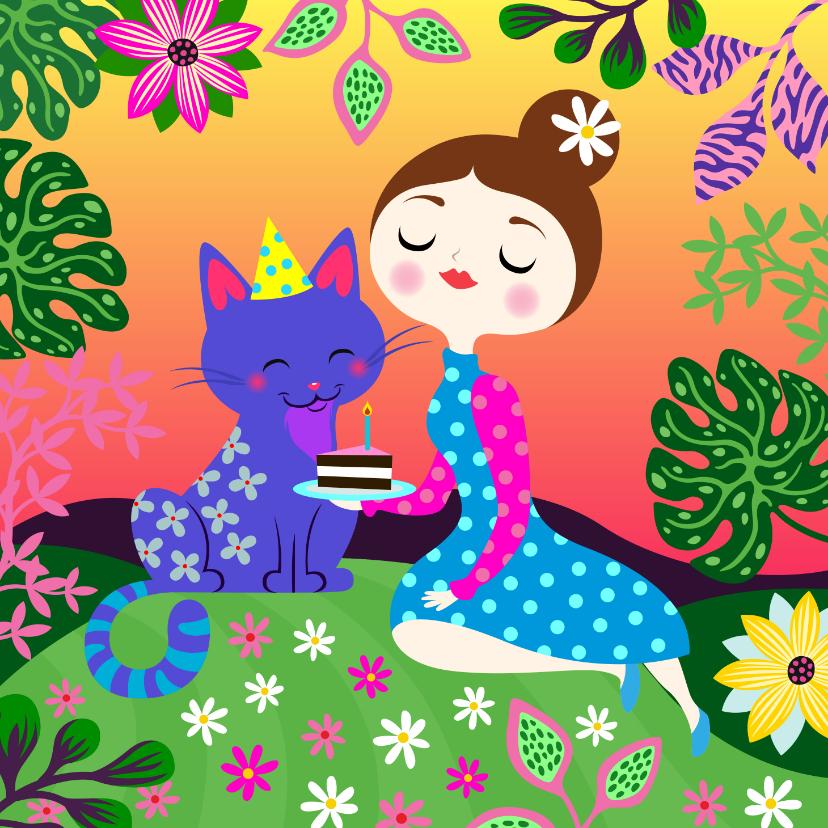 Verjaardagskaarten - Verjaardagskaart met kat en vrolijk meisje