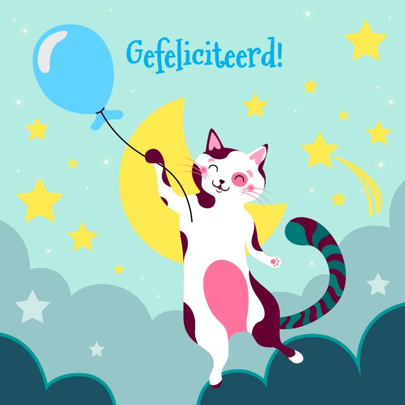 Verjaardagskaarten - Verjaardagskaart  met kat met blauwe ballon in de wolken