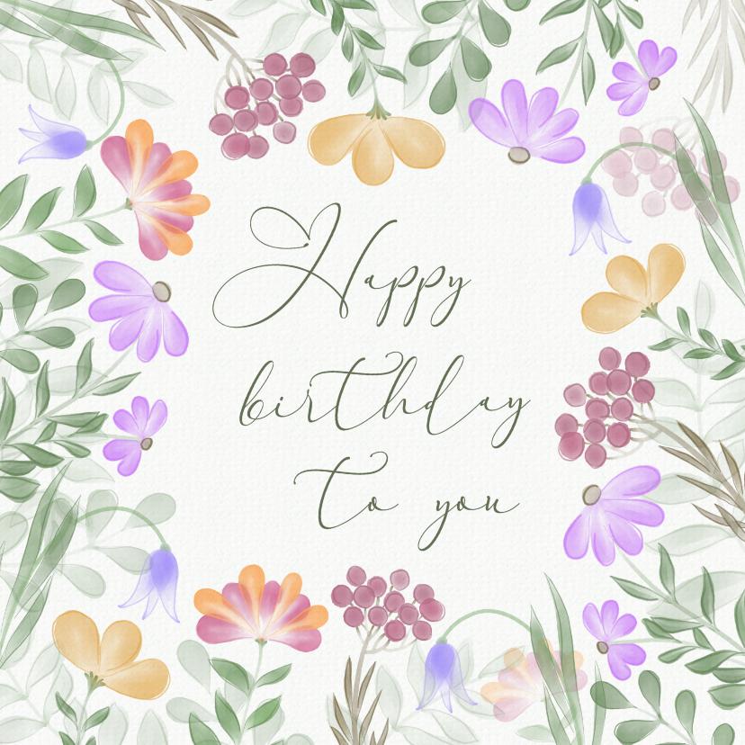 Verjaardagskaarten - Verjaardagskaart met kleurrijke bloemenrand
