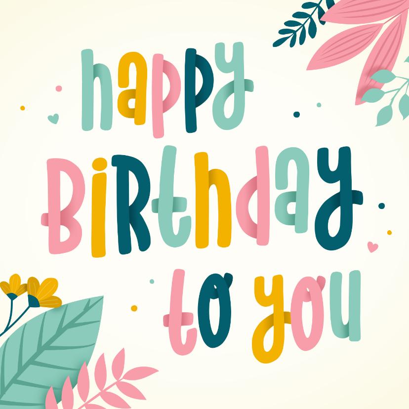 Verjaardagskaarten - Verjaardagskaart met kleurrijke tekst