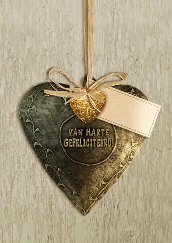 Verjaardagskaarten - Verjaardagskaart met koperkleurig hart op houtlook